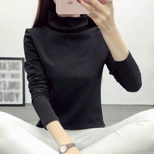 2018秋冬韩新款黑色高领套头上衣女长袖堆堆领t恤女纯棉打底衫