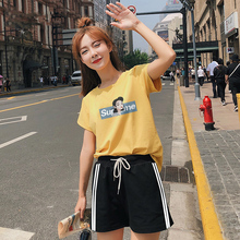 Summer Sports Suit Female 2019 New Junior High School Students Short Sleeve Short Pants Leisure Two-piece Set Loose Korean Fashion