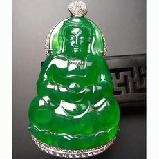 月亮翡翠 玻璃种帝王绿满绿观音镶18K金冰绿通透水润高端送礼收藏