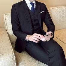 新款新郎西装套装三件套青少年时尚修身小西服气质双扣西服男装潮
