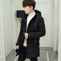 潮流男士 冬季棉衣男连帽中长款 修身 新款 外套韩版 棉袄男保暖棉服厚
