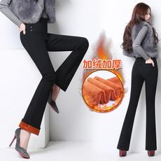 冬季加绒高腰微喇叭牛仔裤女长裤宽松显瘦阔腿直筒加厚保暖喇叭裤