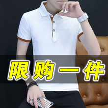赛潘安男士纯棉t恤短袖男装半袖体恤打底衫衬衫领polo衫白色上衣