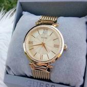 美国代购 Guess 盖斯女表 时尚休闲镶钻水晶金色石英手表 U0638L2