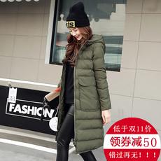 棉衣女中长款2017冬装新款女装棉服韩版修身连帽棉袄时尚保暖外套