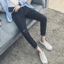 青少年韩版 男士 男修身 小脚裤 春季牛仔裤 潮流黑色裤 子男秋冬季学生