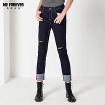 修身 女冬季中高腰chic韩版 加厚保暖牛仔裤 百搭深色弹力直筒长裤