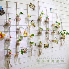 墙面壁挂壁饰 田园风玻璃吊瓶水培植物花瓶 阳台窗户挂饰墙饰装饰
