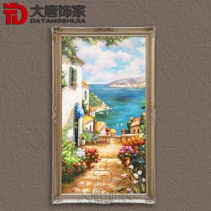 大唐饰家 手绘风景油画地中海风景客厅挂画壁画欧式 span class=h>
