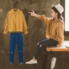 中大女童春装套装2019新款韩版潮衣童装女洋气时尚两件套时髦格子