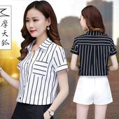 女夏天2018夏季新款 韩版 竖条纹短袖 雪纺衬衫 百搭潮上衣打底衬衣寸