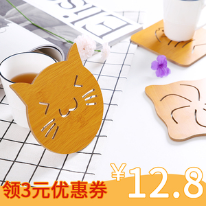 【天天特价】6个装木质隔热垫餐垫防滑锅垫垫子茶杯垫碗垫杯垫