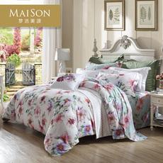 梦洁美颂纯棉四件套全棉被套清新花卉1.8m双人被罩床单玛吉莉塔