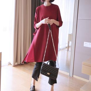 2019春夏新款套头针织衫女宽松中长款七分袖罩衫大码纯色打底毛衣