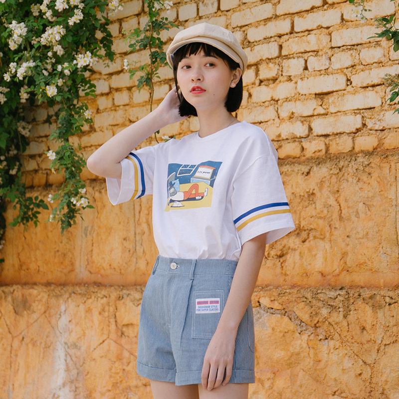 青蔷薇2018夏季新款女装白色短袖T恤学生宽松百搭小清新印花上衣图片