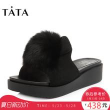 Tata/他她2018夏专柜同款绒毛球女凉拖坡跟拖鞋S2208BT8