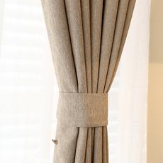 遮光窗帘成品简约现代定制纯色棉麻亚麻客厅卧室落地窗飘窗窗帘布