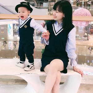 亲子装2018新款春装套装全家装潮衬衫一家三口装母子女装夏父子装亲子装