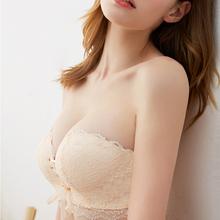 无肩带内衣女聚拢防滑上托厚小胸贴性感裹胸抹胸式美背隐形文胸罩