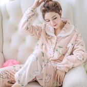 秋冬珊瑚绒睡衣女冬季加厚保暖法兰绒中年女士长袖开衫家居服套装