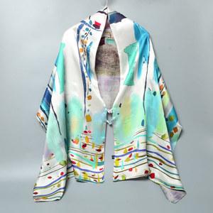 重磅桑蚕丝中国风双层双面盘扣大披肩 女士高档缎面真丝围巾丝巾高档丝巾