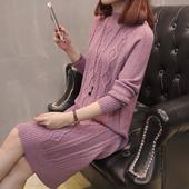 加长款毛衣裙过膝加厚打底针织连衣裙女秋冬新款韩版麻花包臀裙子