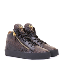 Giuseppe Zanotti/GZ Men's Black/Brown Crocodile Embossed Leather Mid-Up Sports Shoes RU70009