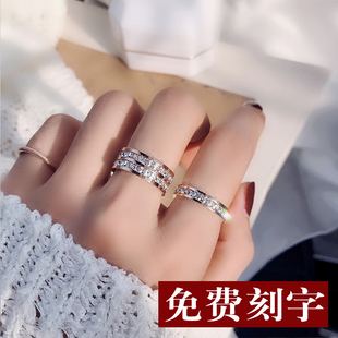 冷淡风闪钻网红钛钢食指环戒指女简约气质日韩chic潮人个性学生