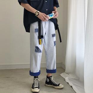 裤子男宽松直筒嘻哈风帅t破洞牛仔裤潮流老爹裤男潮牌阔腿裤九分