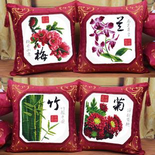 独家特卖:新款精准印花十字绣抱枕靠垫沙发枕头中国风梅兰竹菊家和福顺正品