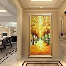 有框壁画 饰画竖版 黄金大道 立体手绘油画家居玄关走廊挂画现代装