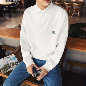 我爱型男秋天长袖T恤韩版潮男士长袖polo衫日系纯色翻领体恤衫潮长袖polo衫