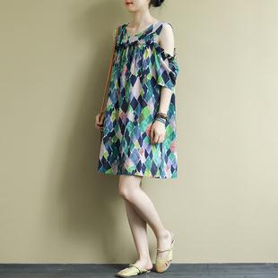 素品 民族风宽松文艺落肩袖棉裙子夏装新款格子中长款休闲连衣裙