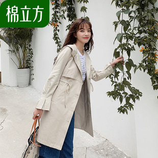 运动风中长款女士风衣春季2019新款棉立方休闲卡其色矮个子外套