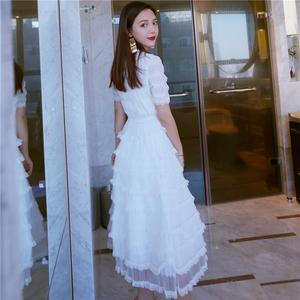 超仙小心机sukol裙少女雪纺小清新白色蛋糕裙学生蓬蓬仙气连衣裙连衣裙