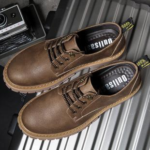 大头鞋男英伦男鞋秋冬季潮鞋系带休闲皮鞋男士工装鞋厚底加绒单鞋