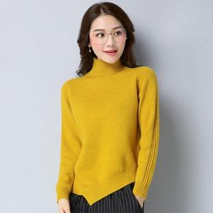 2018新款半高领毛衣女套头短款羊毛衫修身显瘦羊绒衫秋冬款打底衫
