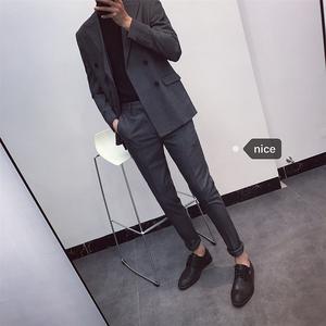 韩国韩版男士英伦风潮男西服休闲双排扣帅气修身小西装套装两件套西服