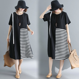 夏季新款亚棉麻大码女装时尚条黑白横条纹拼接显瘦百搭短袖连衣裙