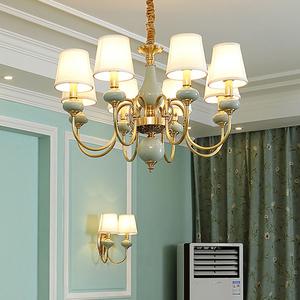 欧式陶瓷吊灯家用客厅灯 全铜地中海卧室灯大气简约现代餐厅灯具吊灯