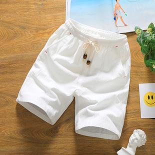 2019夏季情侣短裤男日系亚麻五分裤棉麻短裤男士轻薄休闲裤子大码