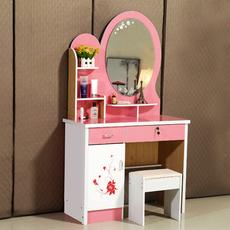 粉色梳妆台卧室公主粉化妆台现代简约化妆桌小户型化妆柜南康家具