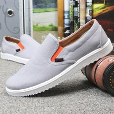 春季男布鞋老北京一脚蹬懒人鞋韩版休闲鞋透气帆布鞋平底学生鞋子