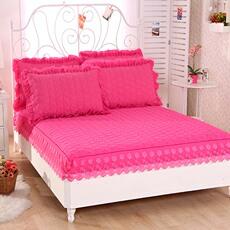 磨毛加厚夹棉床笠1.8m床单件纯色防滑席梦思保护套床垫套床罩包邮