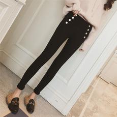 2017冬季新款韩版双排扣修身显瘦黑色加绒打底裤女外穿小脚休闲裤