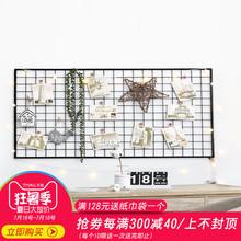 铁艺网格照片墙装 饰夹子悬挂无痕钉置物架创意家居房间布置相片墙