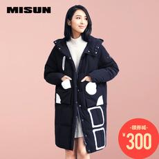 米尚2017冬季新款时尚韩版茧型连帽羽绒服女中长款面包服加厚显瘦