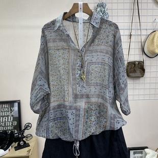 夏季新款韩版女装宽松文艺水洗做旧亚麻翻领短袖衬衫大码开衫衬衣