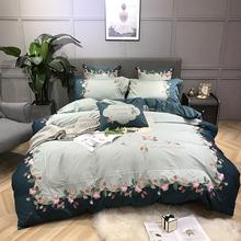 四件套全棉纯棉长绒棉60s贡缎刺绣1.8m1.5米双人床单被套床上用品