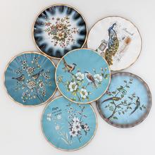 欧式陶瓷装 饰盘子摆件美式复古看盘客厅电视柜酒柜玄关摆盘送支架